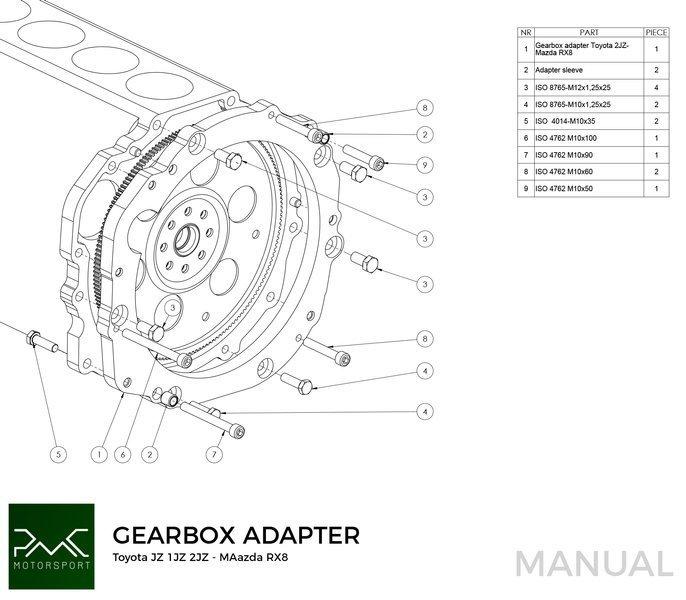 PMC Motorsport Gearbox Adapter / Adaptor Plate Toyota JZ