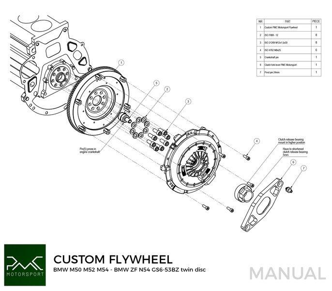 Stage 2 PMC Motorsport Custom Flywheel BMW M50 S50 M52 M54
