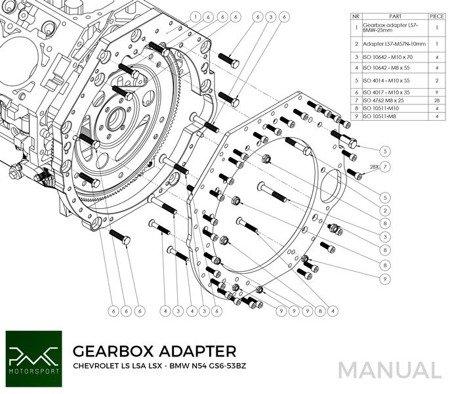 PMC Motorsport Adapter Kit GM Chevrolet V8 LS LS1 LS3 LS7