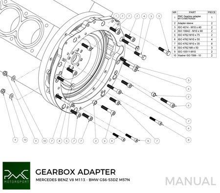 PMC Motorsport Adapter Kit Mercedes-Benz M113 M113K AMG