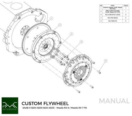 PMC Motorsport Custom Flywheel Saab H B204 B205 B234 B235