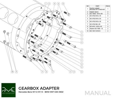 PMC Motorsport Gearbox Adapter Plate Mercedes Benz M112