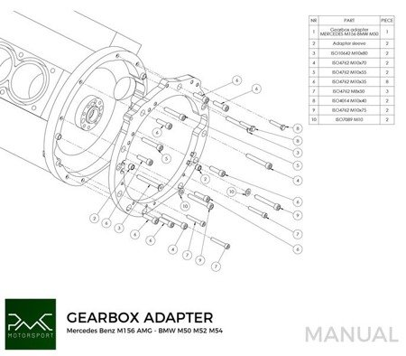 PMC Motorsport Gearbox Adapter Plate Mercedes Benz V8 M156