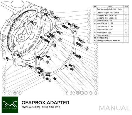 PMC Motorsport Gearbox Adapter Plate Toyota JZ 1JZ 2JZ