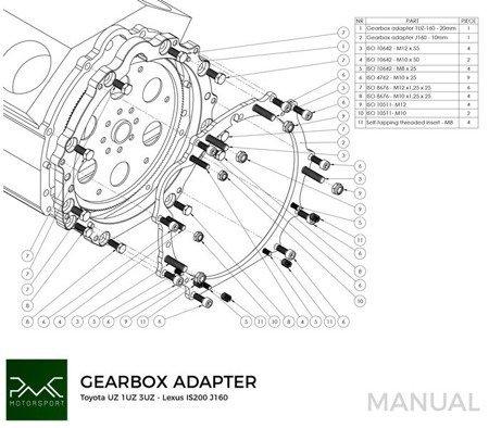 PMC Motorsport Gearbox adapter / adaptor Plate Toyota