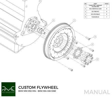 Race Stage 1 PMC Motorspor Custom Flywheel Kit BMW M50 S50