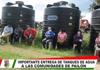 Entrega de tanques a comunidades de Pailón afectados por la sequía