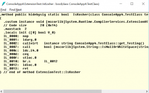 IL Code for extension method