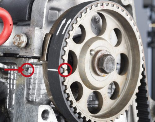 small resolution of 9 o clock position notch on cylinder head and notch on camshaft sprocket and fit on coolant pump crankshaft sprocket and tensioning pulley in direction