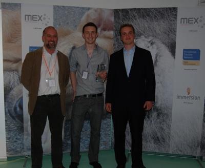 Eddie Murphy, Network Development Manager, DCKTN (Sponsor); Adrian Bliss of Brunel University (Winner); Marek Pawlowski, Founder of MEX (Organiser & Host)