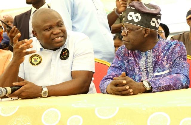 Governor Akinwunmi Ambode, and Bola Ahmed Tinubu, right....