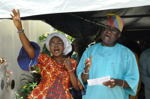 The Celebrant and his wife singing during the anniversary thanksgiving…