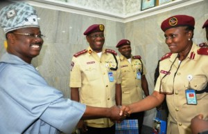 From left, Oyo State Governor, Senator Abiola Ajimobi, Corps Marshal, Federal Road Safety Cooperation, Dr Boboye Oyeyemi and New Sector Commander, Oyo State, Corps Commander Cecilia Alao during the visit…