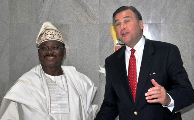Oyo State Governor, Senator Abiola Ajimobi (left) and the United State of America Ambassador to Nigeria, Mr Stuart Symington during the ambassador's courtesy visit to the Governor's Office in Ibadan on Monday…