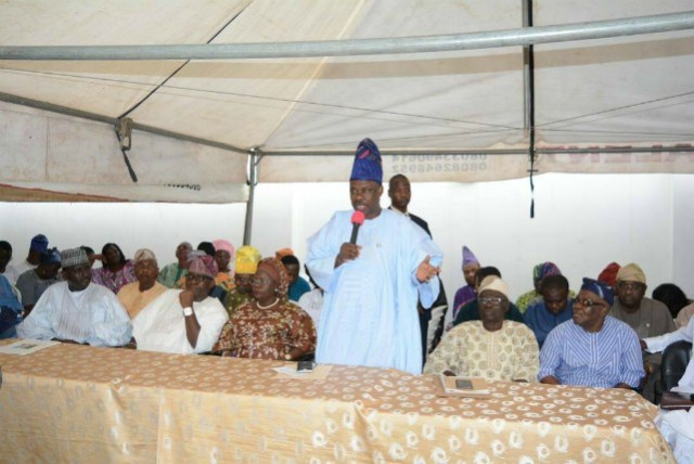 Governor Ibikunle Amosun...addressing members of Ogun APC...