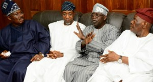 From right - Former National Chairman All Progressives Congress (APC), Chief Bisi Akande, National Leader All progressives Congress (APC), Senator Bola Ahmed Tinubu, Governor State of Osun, Ogbeni Rauf Aregbesola, and Oyo State Governor, Senator Abiola Ajimobi, during the Condolence Visit to APC Chieftain, Chief Bisi Akande on the Demise of his Wife Mrs. Omowumi Akande at his Residence in Ila-Orangun on Wednesday 12/7/2017.