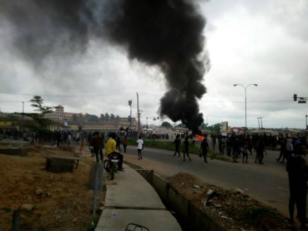 ...street protest by UNIOSUN students on Wednesday...