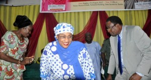 From the left: Oyo state Commissioner for women affairs, Mrs Atinuke Osinkoya, Minister of Women affairs and Social development, Sen. Aisha Al Hassan and the Deputy Governor, Chief Alake Adeyemo during the programme…