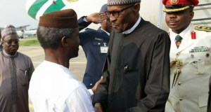 President Muhammadu Buhari, right, with Vice President Yemi Osinbajo...when the President arrived on Saturday...