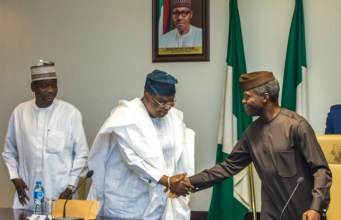Acting President Yemi Osinbajo, SAN, with Otunba Henry Ajomale, Forum Chairman, during the meeting with APC Party Chairmen from 36 States and FCT