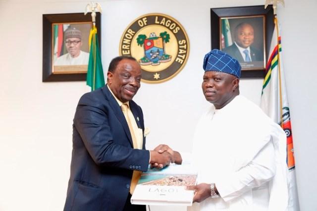 Governor Akinwunmi Ambode, right, with Dr Kuku...