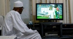 President Muhammadu Buhari...watching the Nigeria versus Cameroon match live at his country home in Daura...