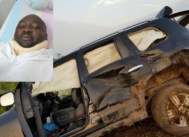 Chief Adebayo Adelabu, inset, and his SUV...