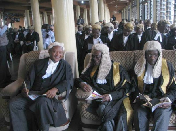 Chairman, Nigerian Bar Association, Akeem Agbaje, left, with two other SANs