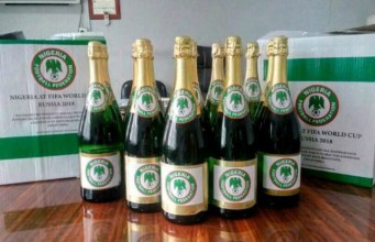 Super Eagles' branded Champagne bottles...courtesy NFF...