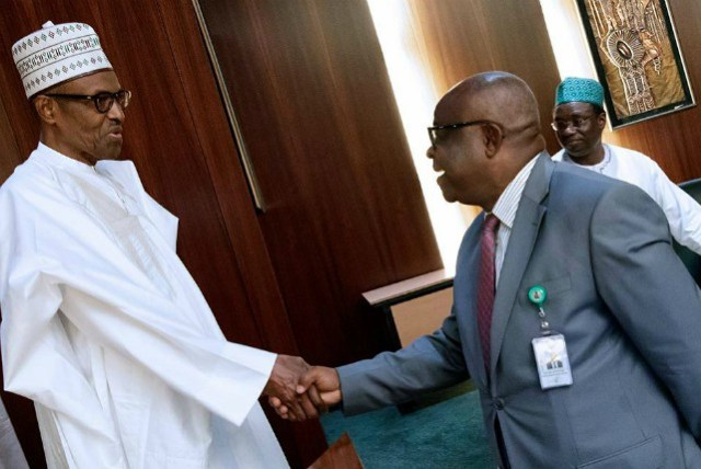 President Muhammadu Buhari, left, with the Chief Justice of Nigeria, Justice Walter Onnoghen