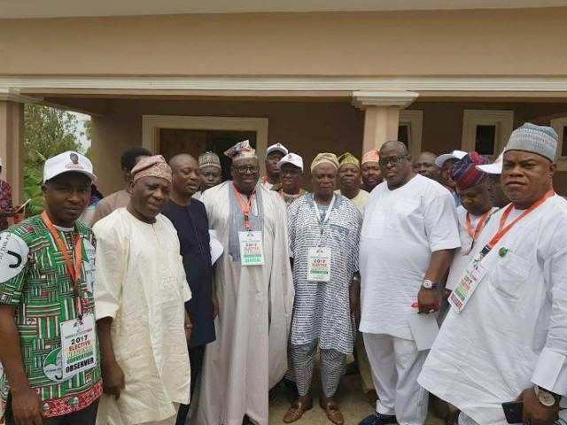 Senator Rashidi Ladoja, middle, with Senator Buruji Kashamu and others in Abuja during the weekend...
