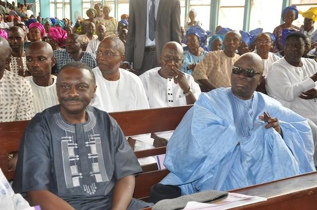 Professor Adesoji Adejumo, Ex-SUBEB Boss in Oyo, left, with Chief Ayo Adebanjo...