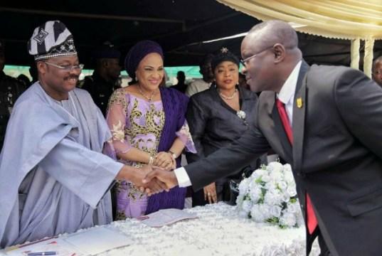L-R: Oyo State Governor, Senator Abiola Ajimobi; his wife, Chief Florence Ajimobi; Deputy Chief Registrar State High Court, Alhaja Fatimah Badrudeen; and State's outgoing Head of Service, Mr. Soji Eniade...at the event...