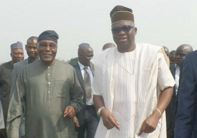 Governor Ayodele Fayose, right, with Ex-President Atiku Abubakar...in Ado Ekiti...