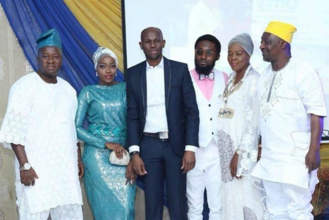 The initiator of the competition, Hon. Adedapo Lam Adesina (middle) with the winners and their parents...at the event...
