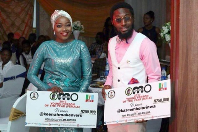 Winners of the 2017 Omoolore Young Person of the Year, Sekinat Ogunsesan and Kazeem Bolarinwa displaying their prizes