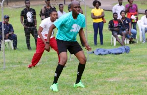 Hon Adedapo Lam-Adesina...during a recent footballing engagement...