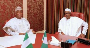 President Muhammadu Buhari, right, with Senate President, Dr Bukola Saraki...