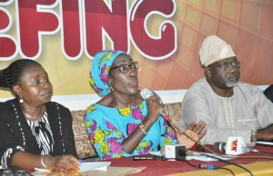 L-R: Acting Permanent Secretary Ministry of Women Affairs, Community Development, Social Welfare and Poverty Alleviation, Mrs Christianah Abioye, Commissioner of the Ministry, Mrs Tinuke Osunkoya and Commissioner of Information, Culture and Tourism during the press conference on this year 2018 International Women's Day Celebration held at Film Theatre, Ministry of Information Secretariat, Ibadan
