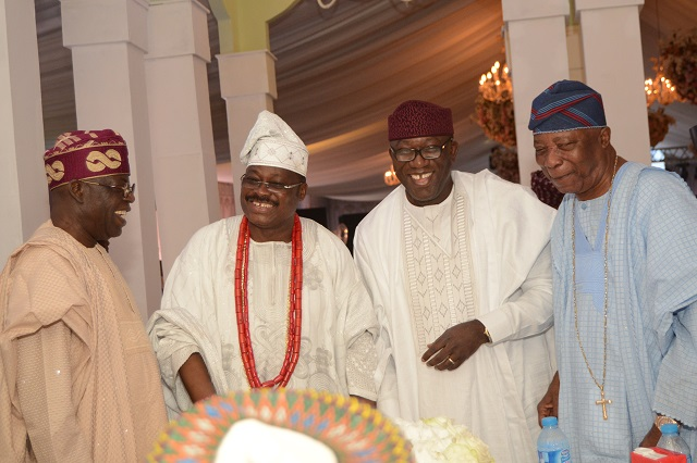 L-R: National Leader of the All Progressives Congress, Asiwaju Bola Tinubu; Groom's father, Governor Abiola Ajimobi of Oyo State; Minister of Mines and Steel Development, Dr. Kayode Fayemi; and an industrialist, Sir Kesington Adebutu