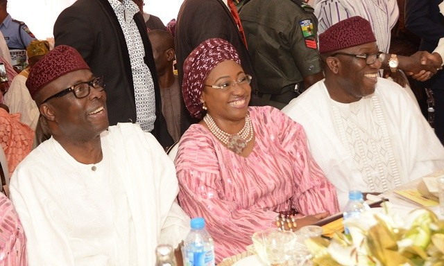 L-R: A former Governor of Ekiti State, Chief Niyi Adebayo; Wife of Minister of Mines and Steel Development, Erelu Bisi Fayemi; and the minister, Dr. Kayode Fayemi…