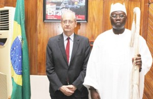 Aare Ona Kakanfo, Dr Gani Adams, right, with Consul General of Brazil, Lagos, Flavio R. Bonzanini...