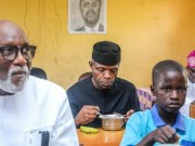 L-R: Governor Oluwarotimi Akeredolu, Vice President Yemi Osinbajo and one of the pupils...