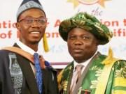 Governor Akinwunmi Ambode, right, with the overall best graduating student of Lagos State University (LASU), Ogunsanya Fuhad Adetoro...