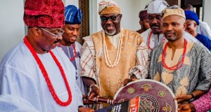 Governor Abiola Ajimobi of Oyo State (left) being presented with the state's quarterly cultural magazine tagged Dundun by the Commissioner for Information, Culture and Tourism, Mr. Toye Arulogun (middle) during the 2018 World Culture Day Celebration at Government House Ibadan. With them are Special Assistant eMedia to the Governor, Mr. Tunde Muraina (second left), Special Adviser, Community Relations, Alhaji Bidemi Siyanbade (second right) and the Permanent Secretary, Ministry of Information, Culture and Tourism, Dr Bashir Olanrewaju (right)