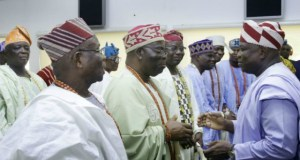 Governor Akinwunmi Ambode, right, with the traditional rulers...