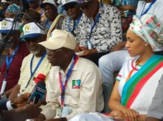 R-L: Mrs Oshiomhole, Comrade Adams Oshiomhole at the convention on Saturday...