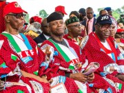 L-R: Chief John Odigie Oyegun, APC Chairman, Vice President Yemi Osinbajo, Senator Babafemi Ojudu and Dr Kayode Fayemi at the rally...