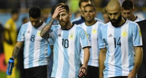 Lionel Messi, middle, with his mates bowing out of the World Cup in Russia...