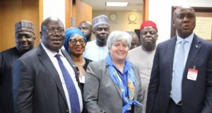 President of the Senate, Dr. Abubakar Bukola Saraki (r), Leader of the Senate, Senator Ahmad Lawan (l) and other members of the National Assembly Delegation on parliamentary visit to the USA, with Stephanie Sullivan of the Bureau of African Affairs, at the US State Department at the weekend